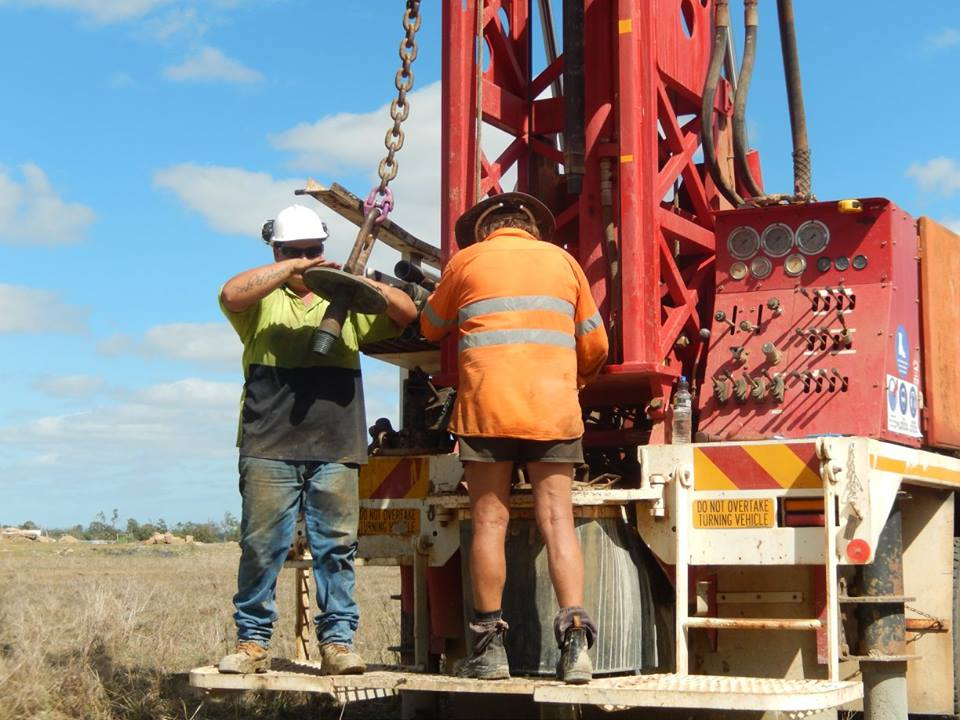 Tropical Water Bores Rig, Men at Work, Drilling,